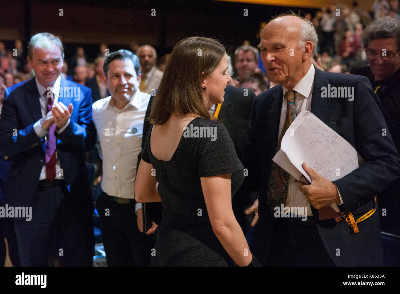 Bournemouth, UK. 17th Sep, 2017. Party Leader Sir Vince Cable congratulates Jo Swinson, the new Deputy Leader, following her keynote speech at the Liberal Democrat Autumn Conference. Credit: Mark Kerrison/Alamy Live News - Stock Image