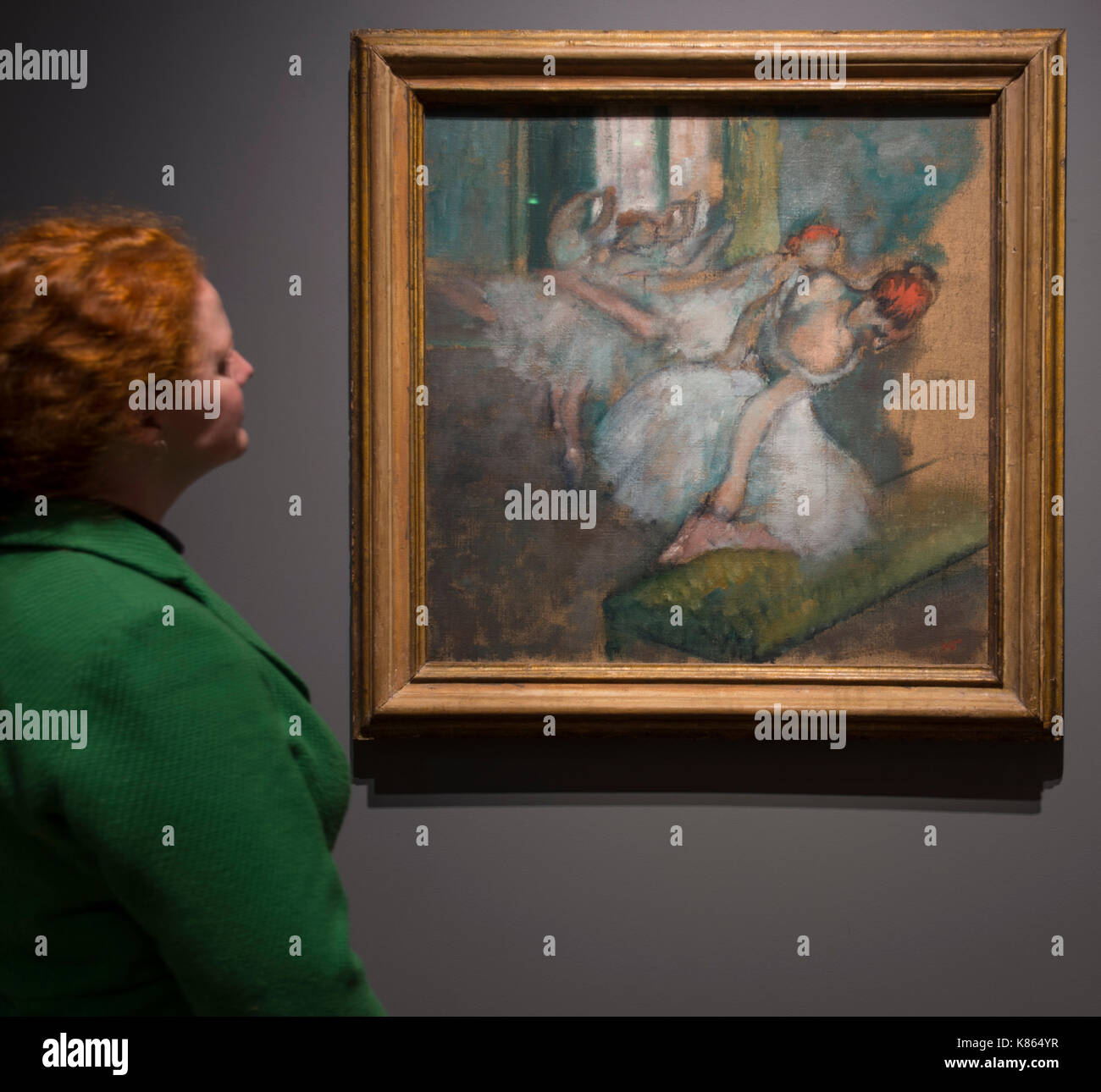 National Gallery, London, UK. 18 September, 2017. Degas artworks from the Burrell Collection in Glasgow go on display at the National Gallery from 20 September 2017 - 7 May 2018. Shipping magnate Sir William Burrell gifted his large collection of art, including one of the finest collections of Degas pastels in the world, to the City of Glasgow in 1944. 13 pastels, three drawings and four oil paintings from the Burrell are exhibited at the National Gallery. Credit: Malcolm Park/Alamy Live News - Stock Image