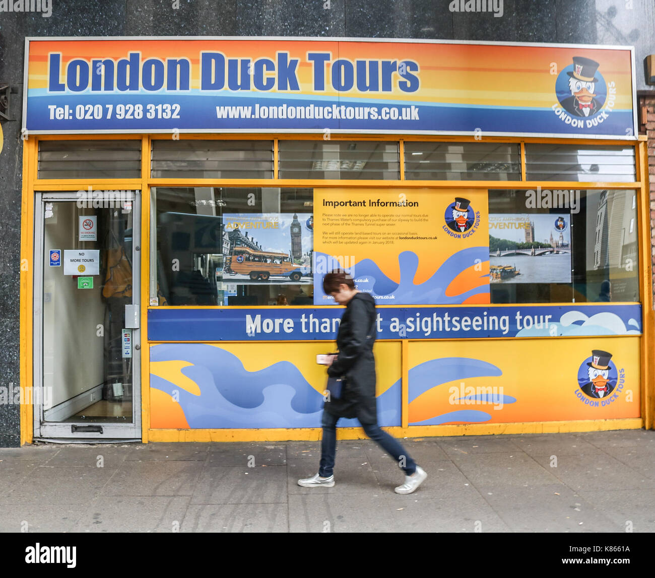 London, UK. 18th Sep, 2017. The amphibious London Duck Tours ceases operating after losing access to the slipway on the Albert Embankment due to the Thames Water supersewer construction works. The amphibious Ducks played a vital role in the second World War and were originally used to carry supplies from ships to points on land saving lives Credit: amer ghazzal/Alamy Live News - Stock Image