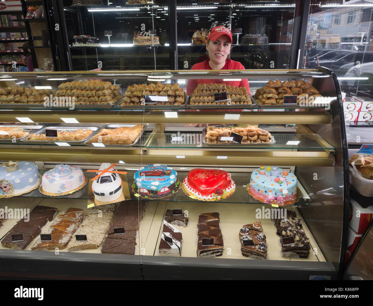 Aparan, a small town in Armenia, well known by travellers for the Gntunik Bakery, a tourist attraction in itself, a selection of birthday cakes - Stock Image