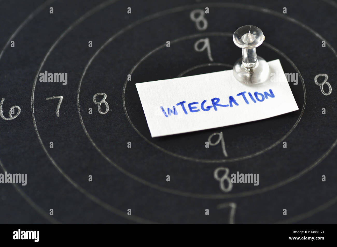Integration word written on paper in center of shooting target - Stock Image