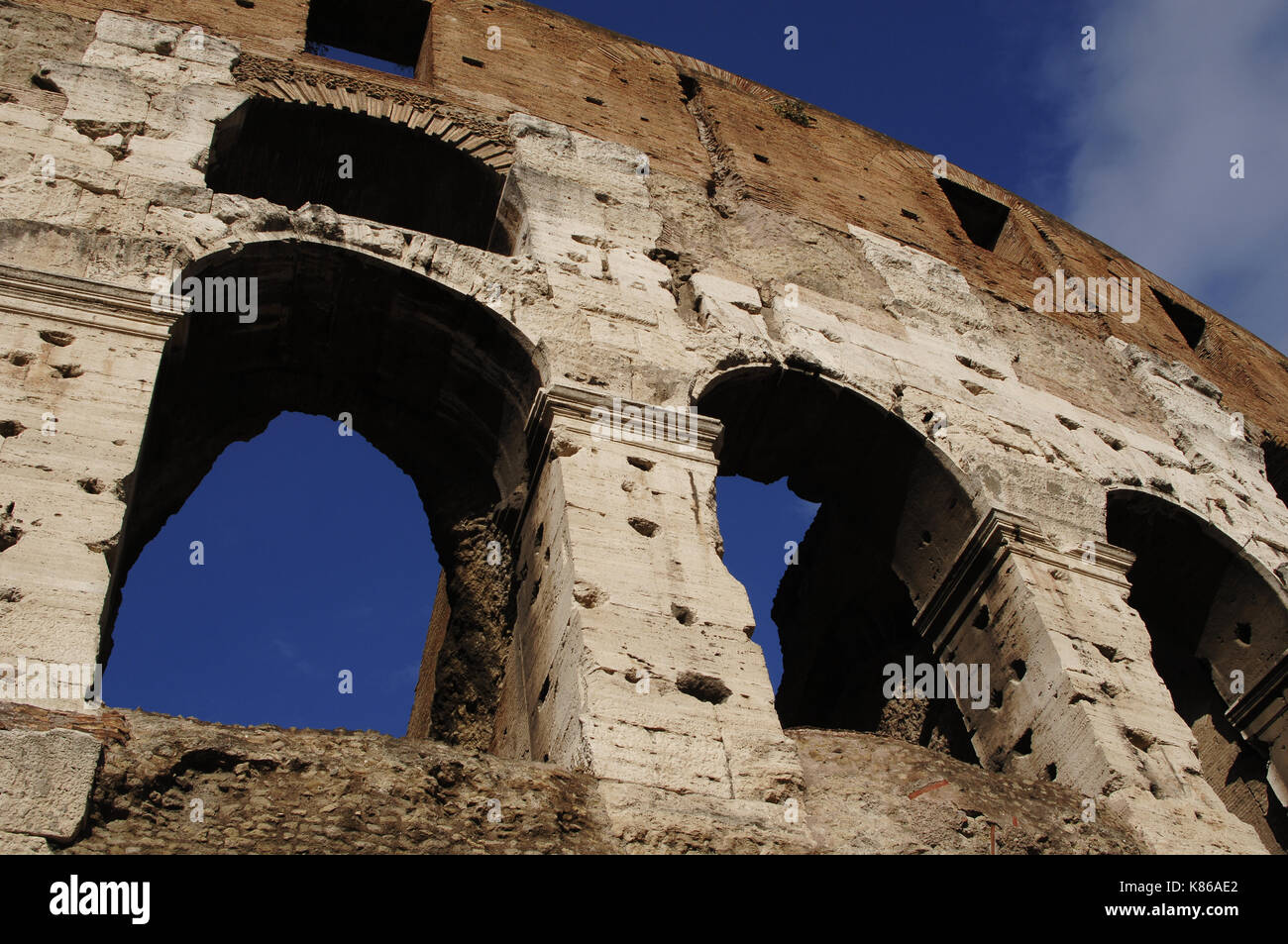 Flavian Amphitheatre or Coliseum. Roman period. Built in 70-80 CE, Flavian dynasty. Detail. Exterior. - Stock Image