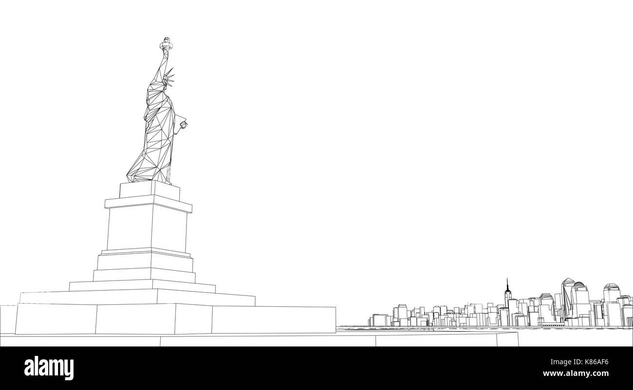 Wire frame new york city blueprint style stock vector art wire frame new york city blueprint style malvernweather Choice Image