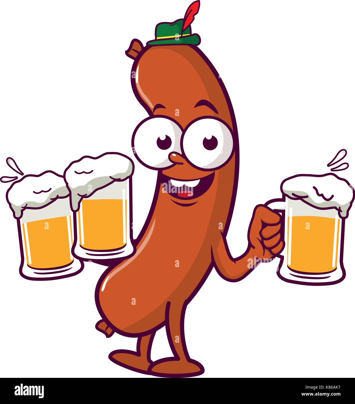 Cartoon Sausage serving beer - Stock Photo