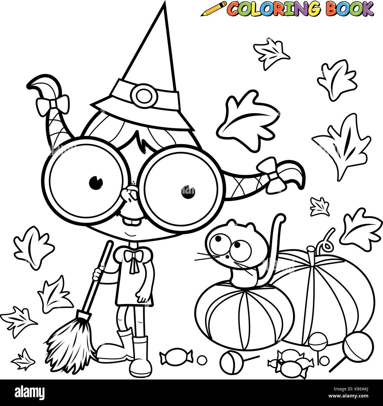 Halloween witch sweeping pumpkin leaves. Black and white coloring book page - Stock Vector