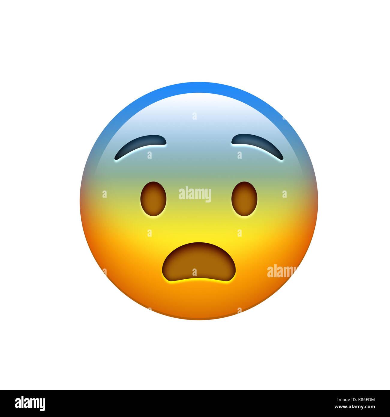 The emoji yellow headache spooky face icon - Stock Image