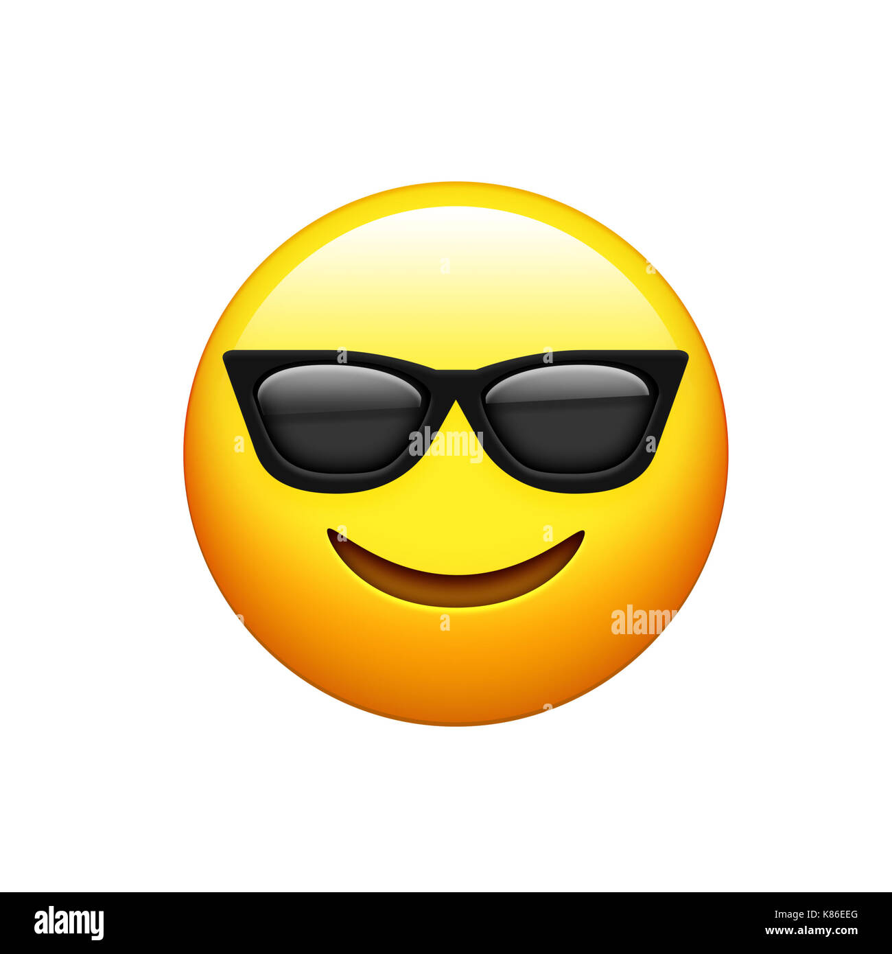 The yellow face with black sunglass and smile icon - Stock Image