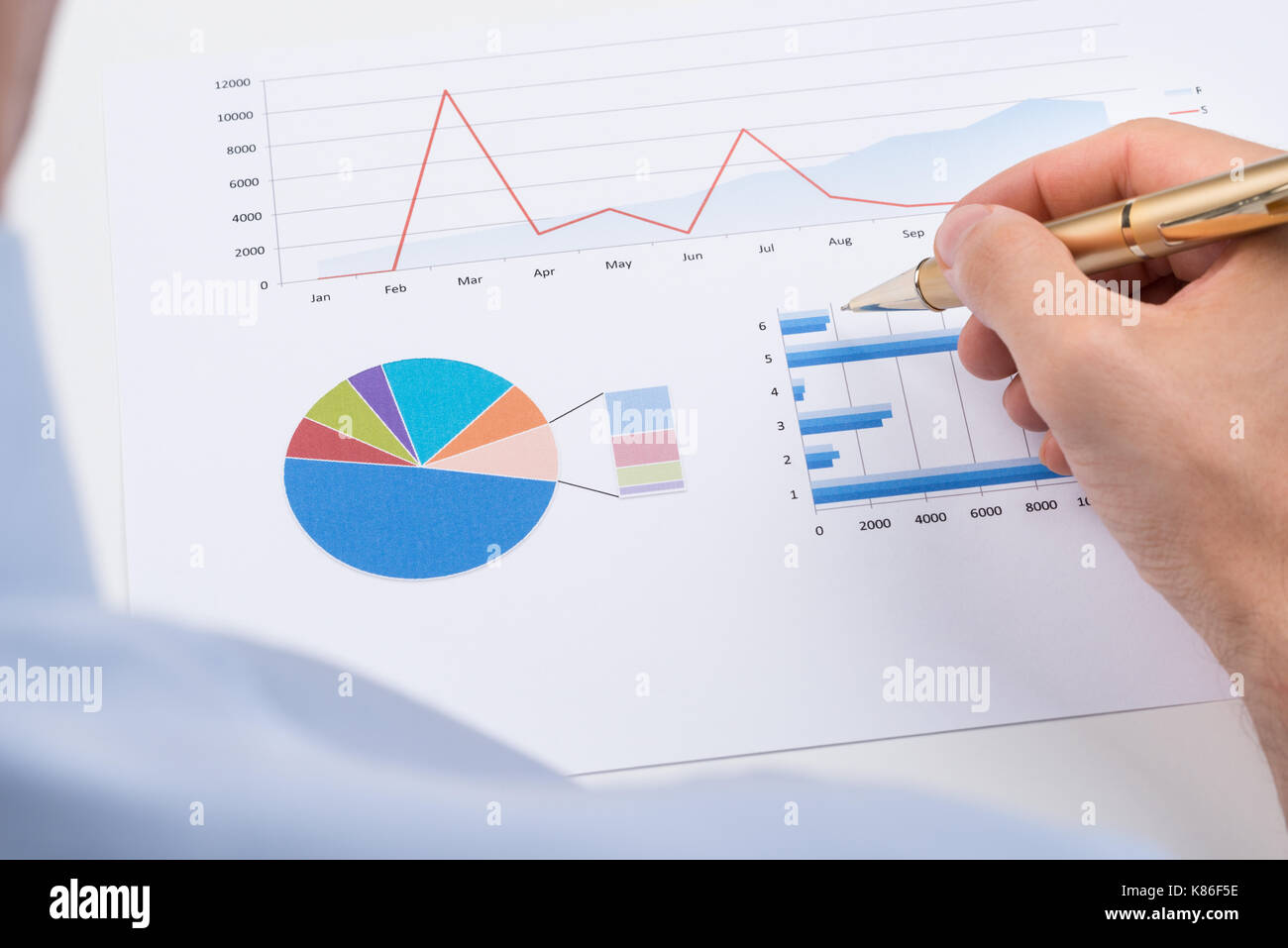 Close-up Of Businessperson With Pen Analyzing Statistic Chart On Paper - Stock Image