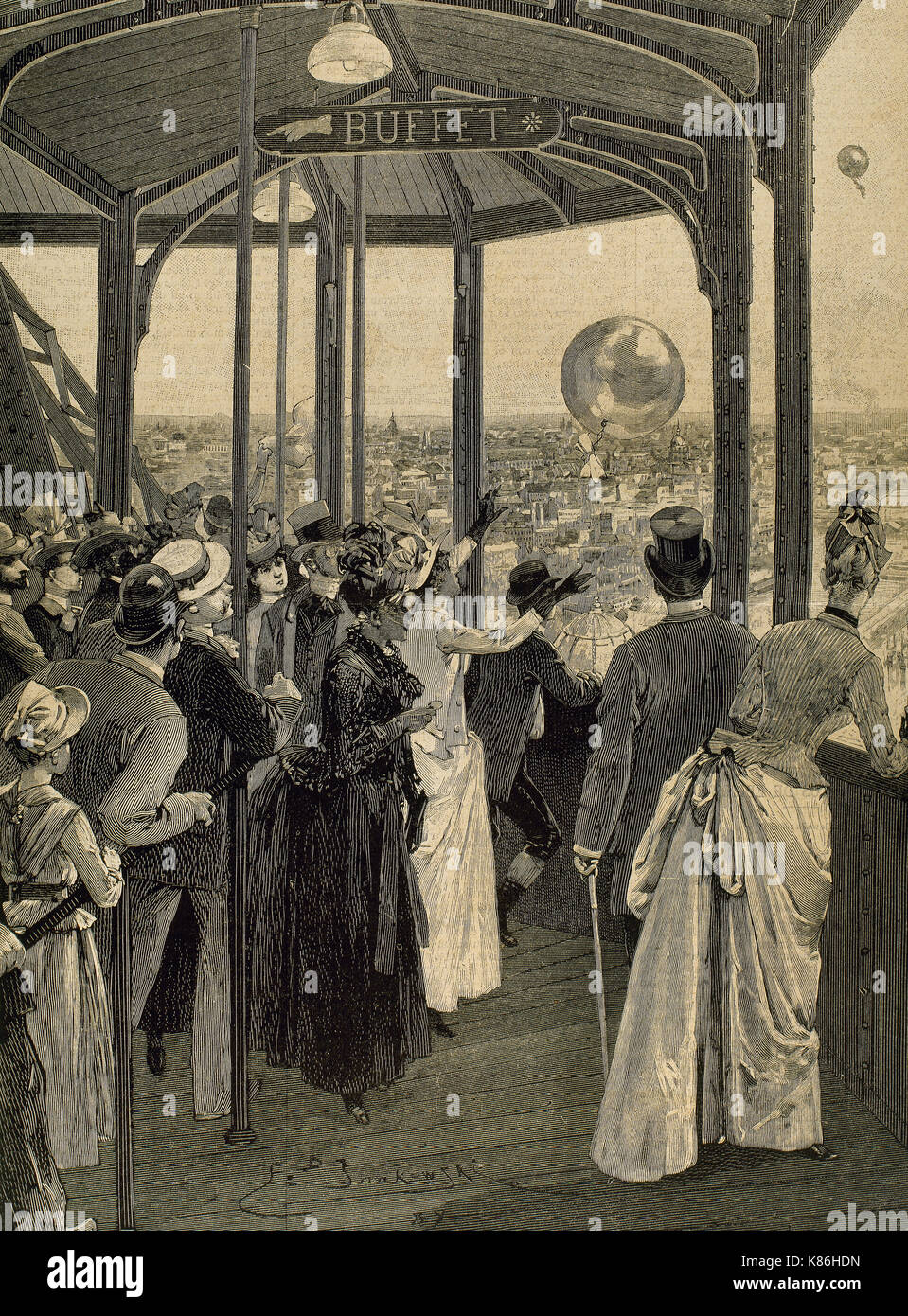 France. Paris. Universal Exhibition of 1889. Launch of postal balloons from the second platform of the Eiffel Tower. Engraving. - Stock Image