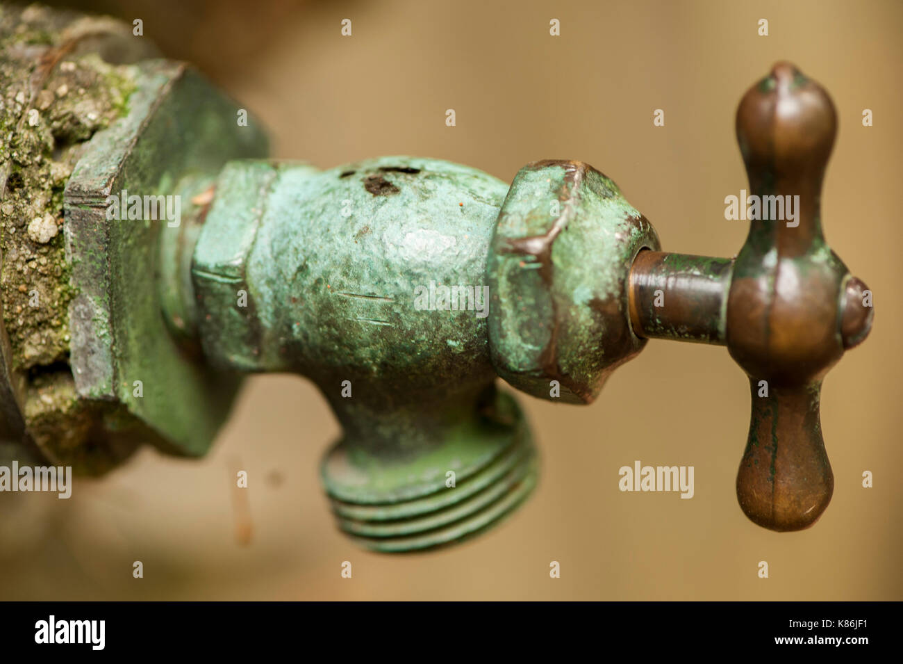 Bronze and Patina Copper Water Spigot - Stock Image