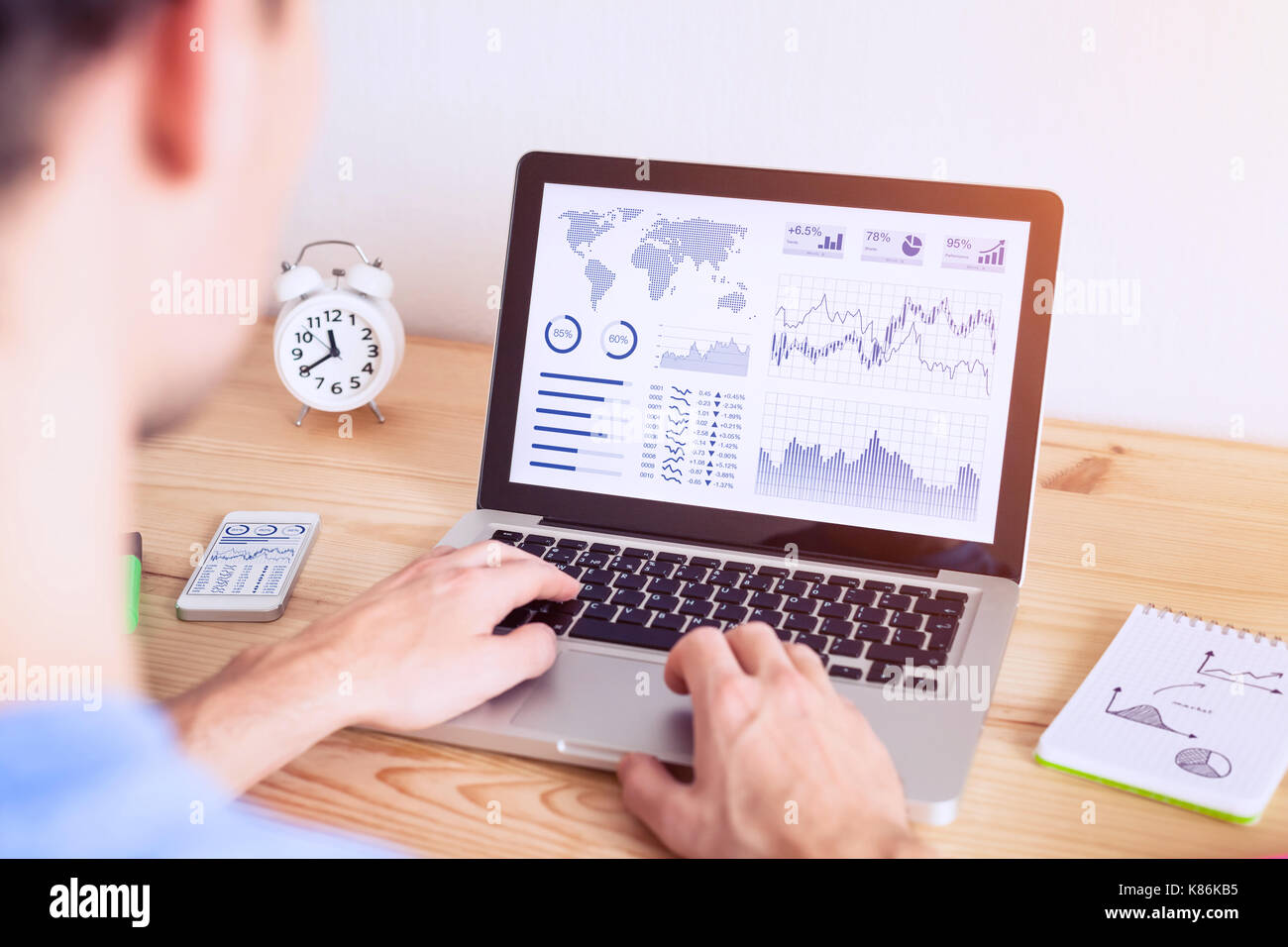 Investor analyzing online financial stock exchange graph with data and business chart on computer screen - Stock Image