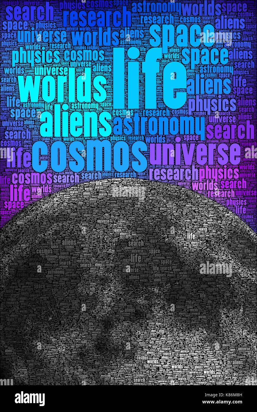 The search for alien life in our cosmos, made only using words about the subject. - Stock Image