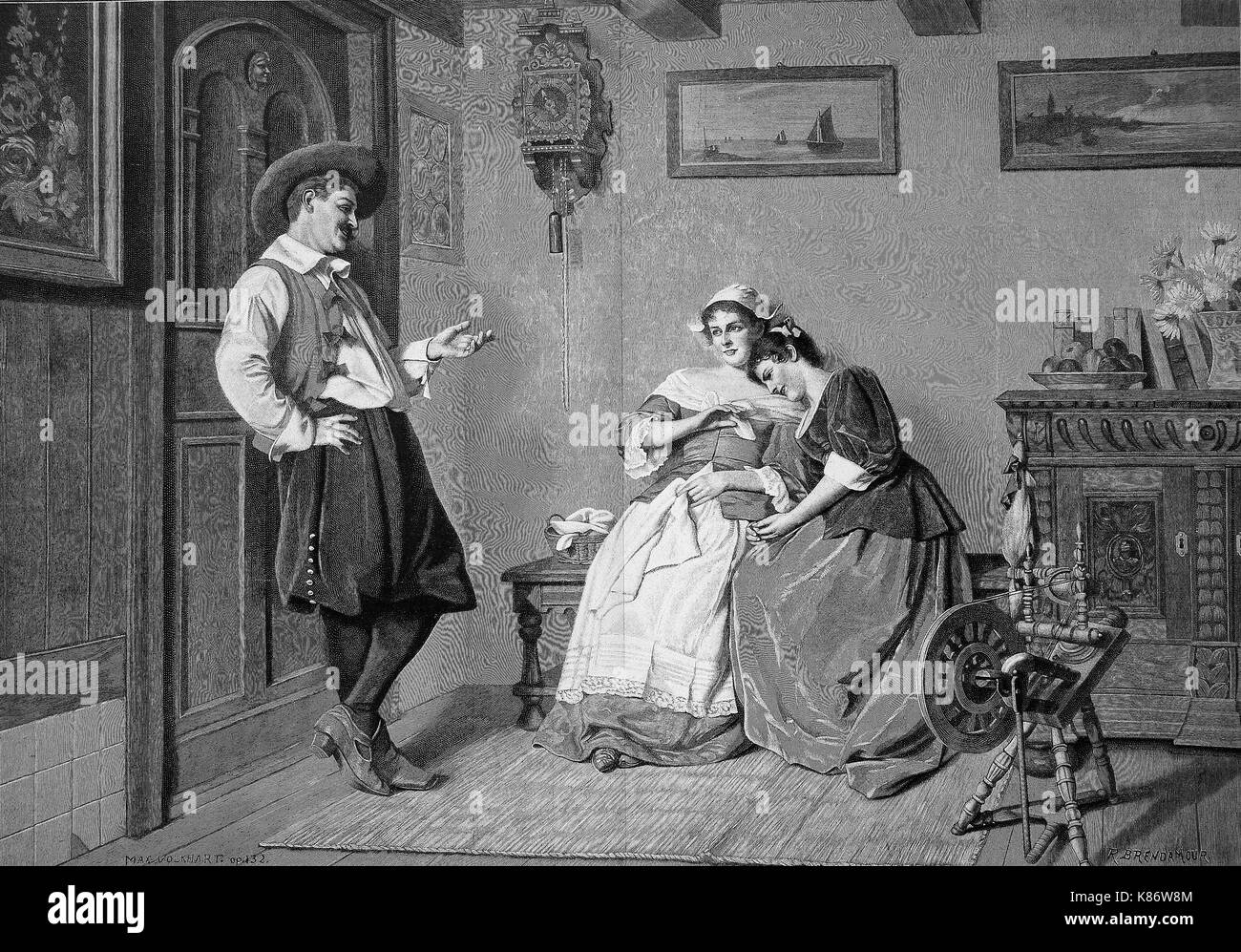 situation in a living room in 1850, young man teases two women, spinning wheel, girlfriends, flirt, Digital improved reproduction of an original woodprint from the 19th century - Stock Image