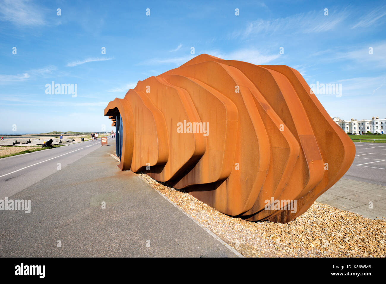 The East Beach cafe in Littlehampton, West Sussex, England is a welded steel monocoque design completed in 2007 - Stock Image