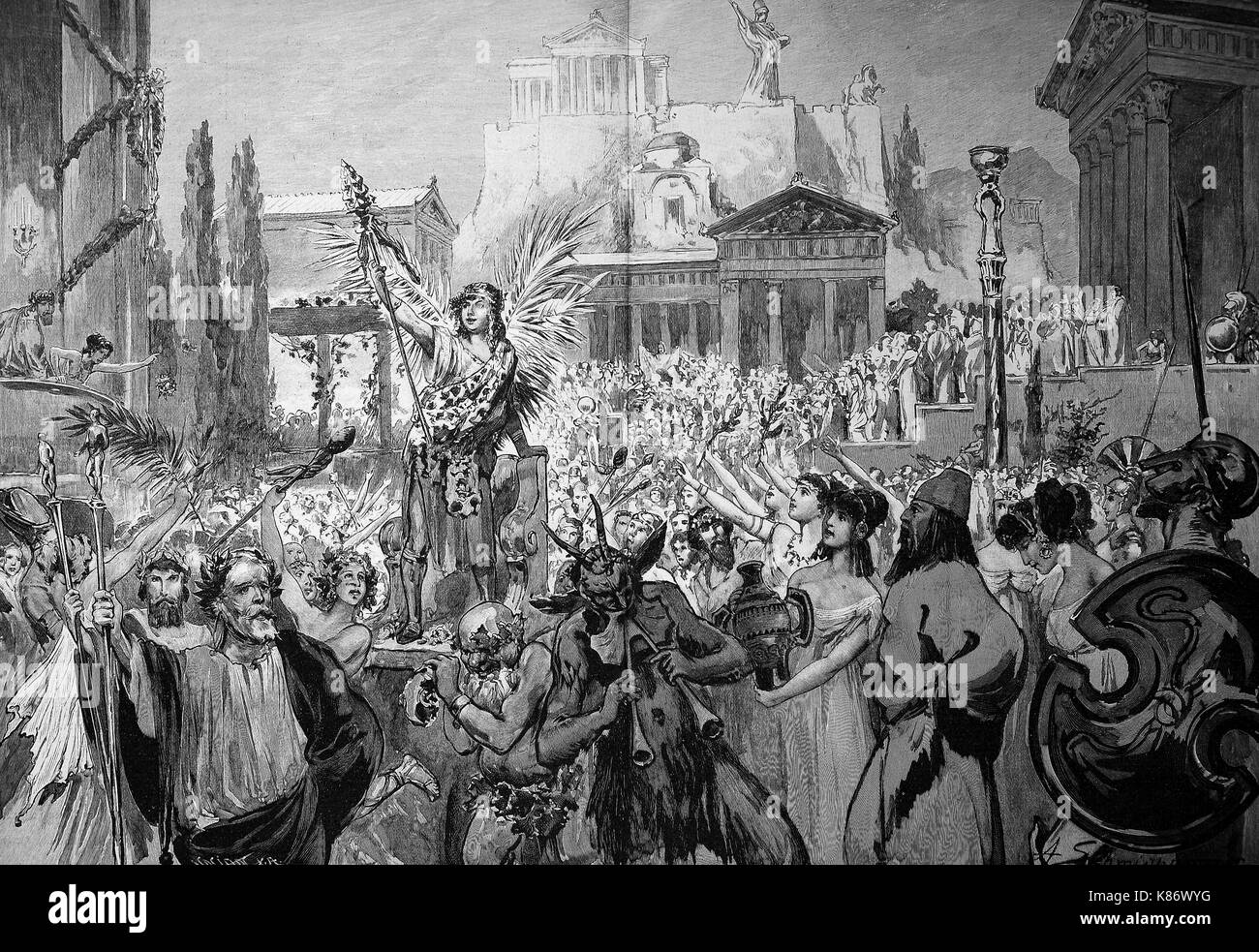 the artist festival 1898 at Munich, Bavaria, Germany, people at the procession Bacchus, celebration, Digital improved Stock Photo