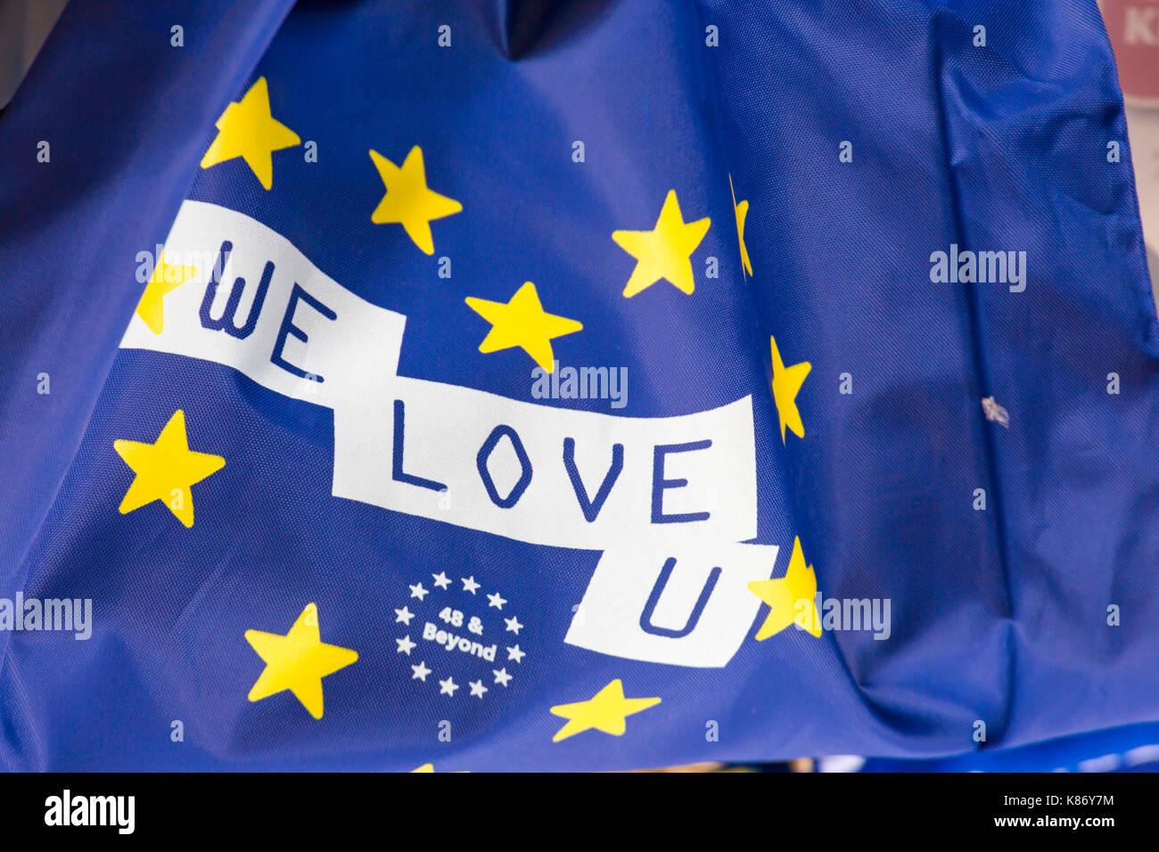 We Love U flag 48 & Beyond at Stop Brexit Demonstration at Bournemouth, Dorset in September - Stock Image
