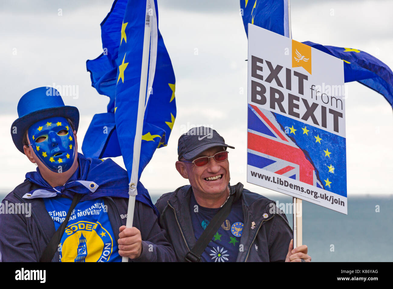 EU supporters holding EU flags and Exit from Brexit placard at Stop Brexit Demonstration at Bournemouth, Dorset - Stock Image