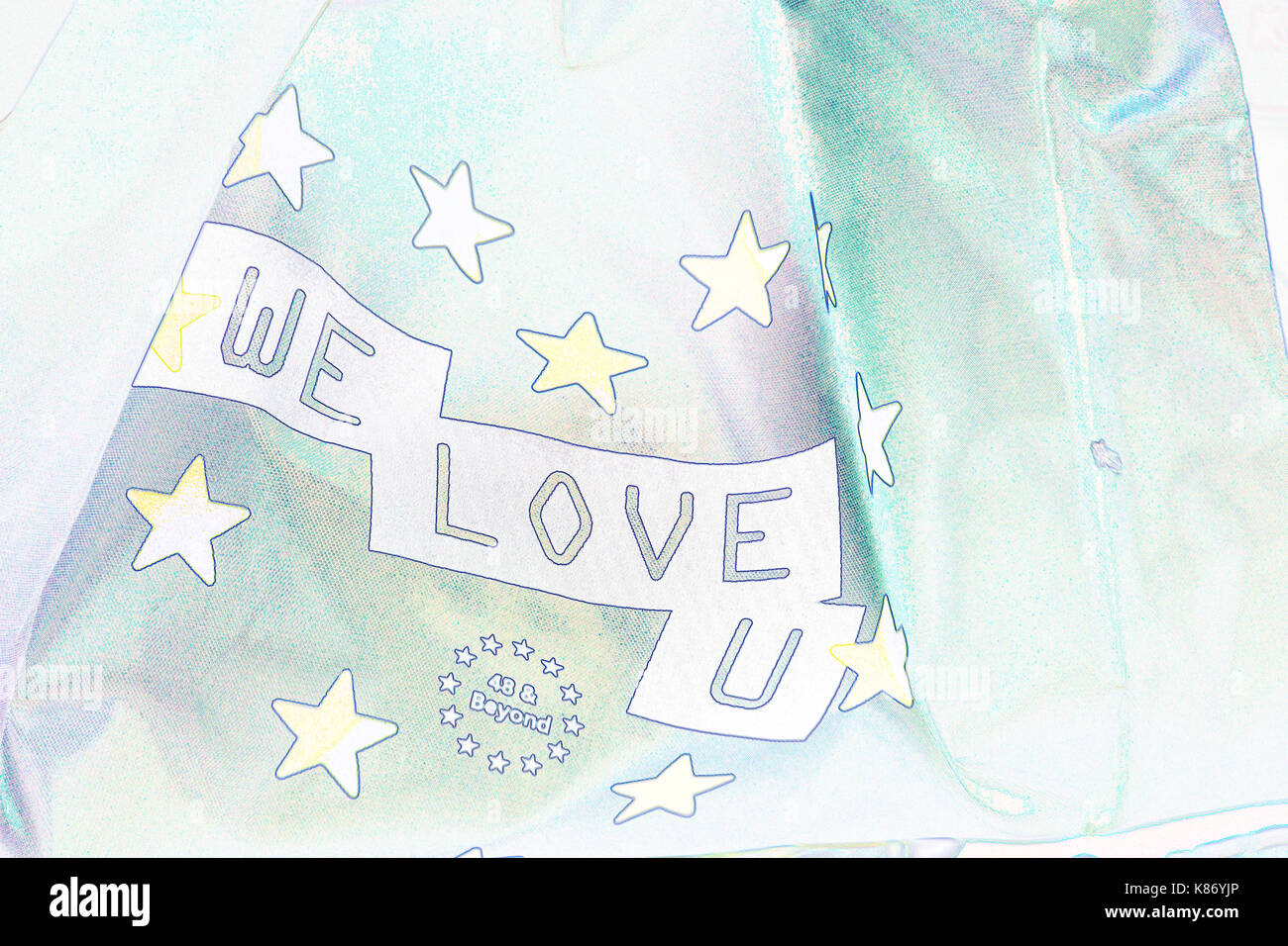 We Love U flag 48 & Beyond at Stop Brexit Demonstration at Bournemouth, Dorset in September - outline Stock Photo
