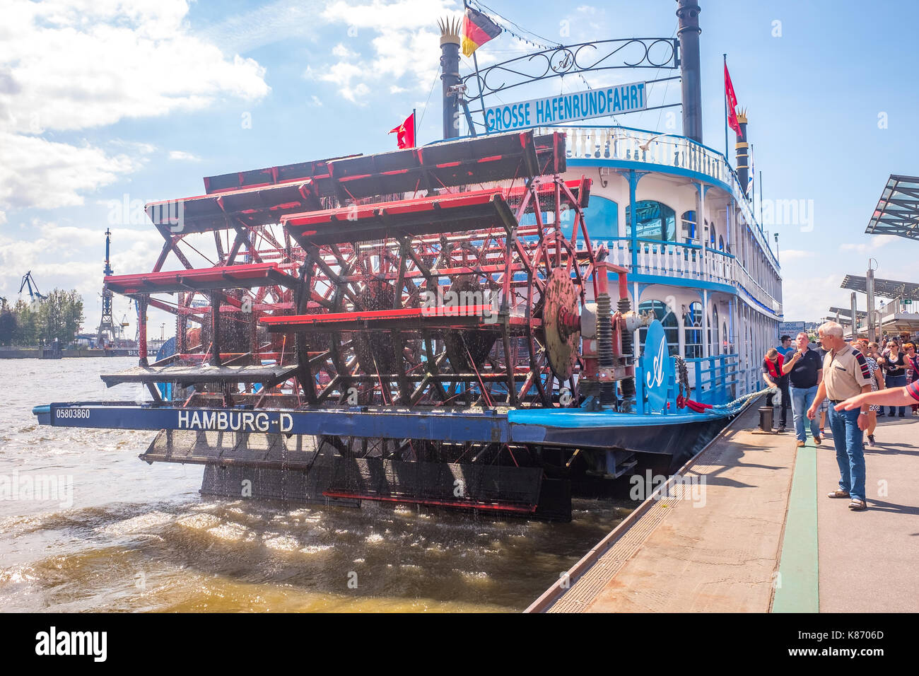 Grosse Hafenrundfahrt Paddle Steamer on River Elbe Hamburg - Stock Image