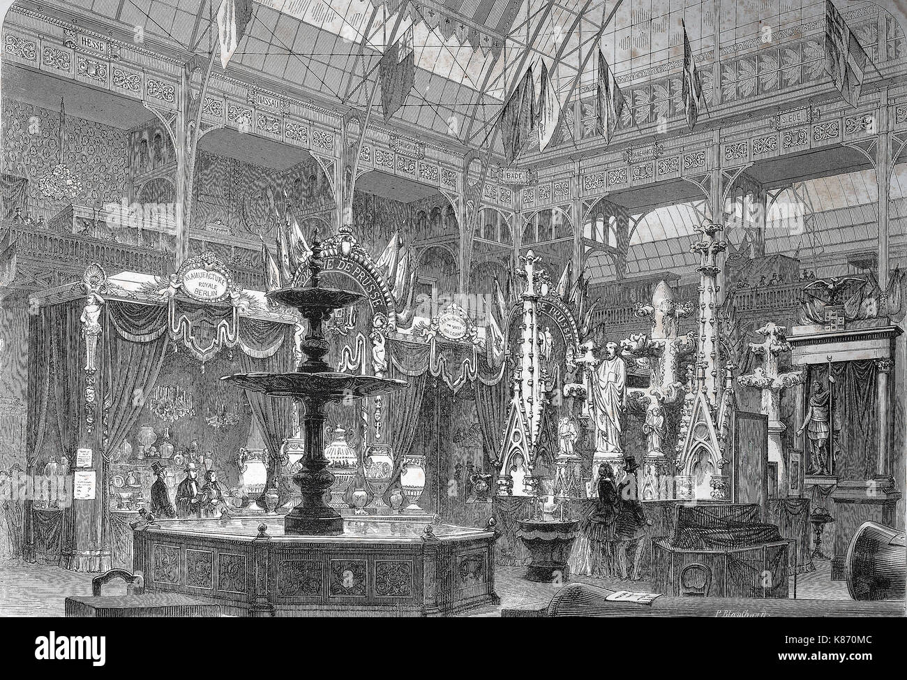 the international exposition 1867, Paris, France, the prussian exhibition hall, Digital improved reproduction of Stock Photo