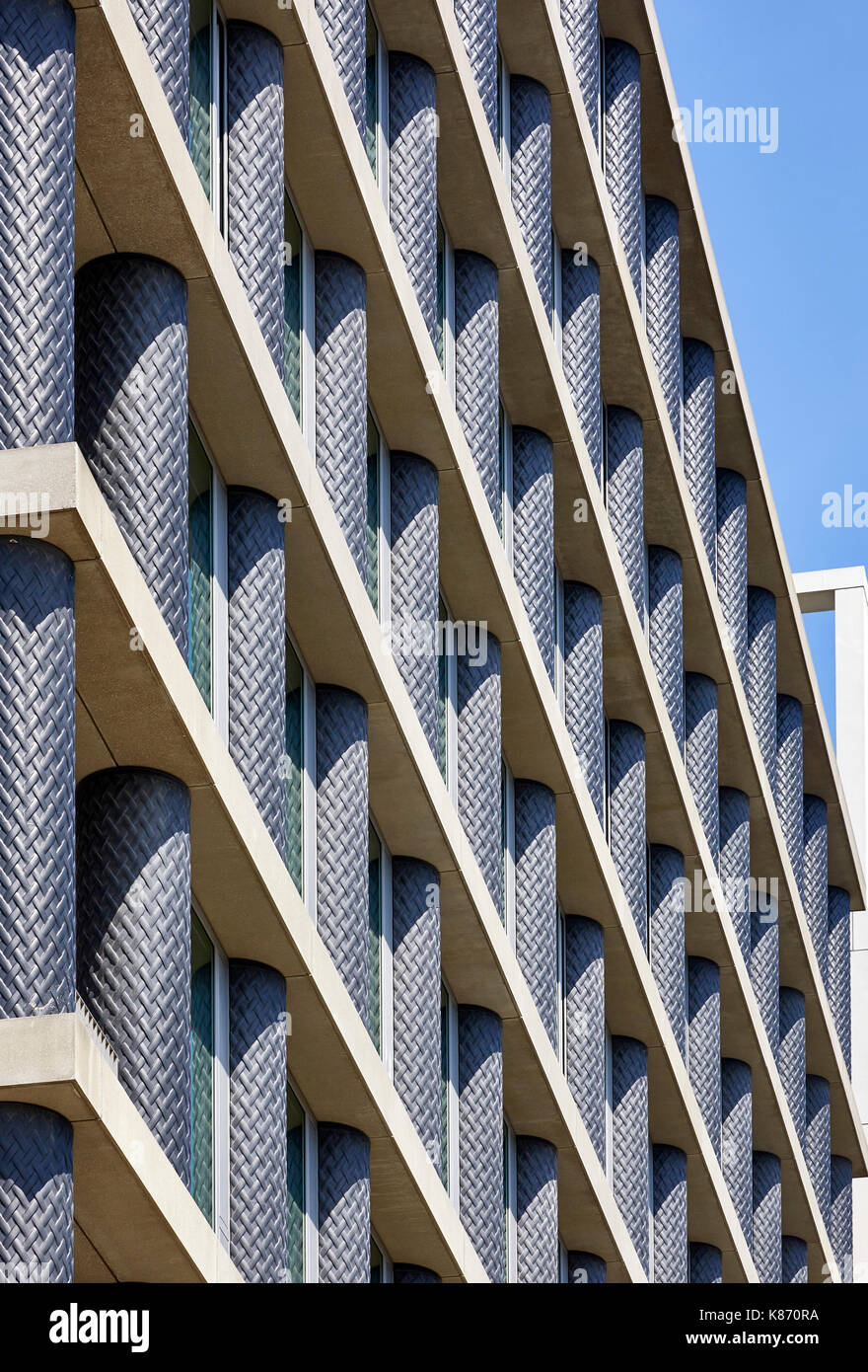 Detail of  Iron columns of One Pancras Square, David Chipperfield Architects. King's Cross Estate, London, United Kingdom. Architect: various architec - Stock Image