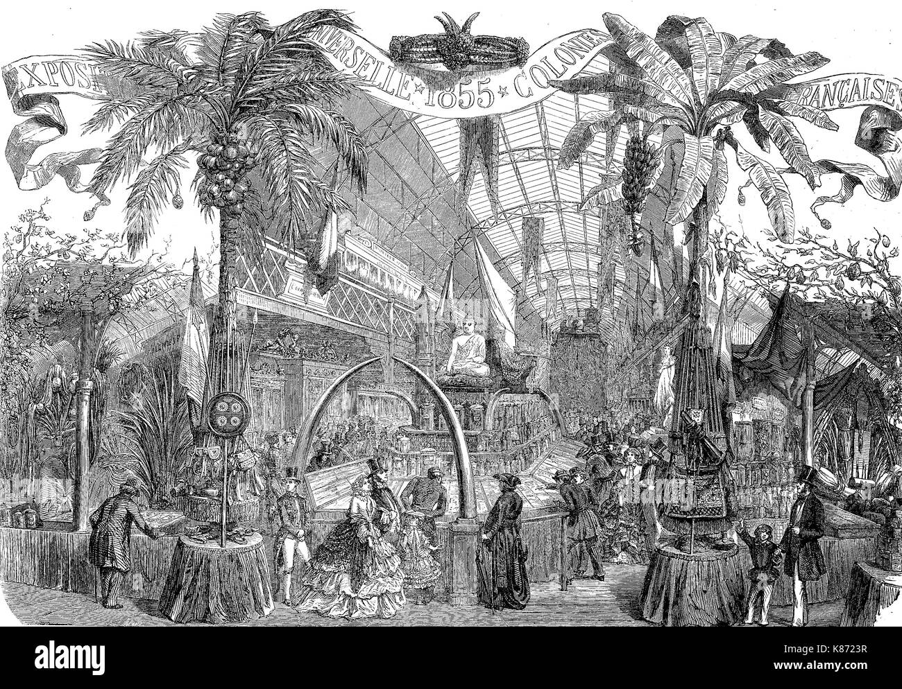 the international exposition 1855, Paris, France, exhibition of the french colonies, Digital improved reproduction - Stock Image