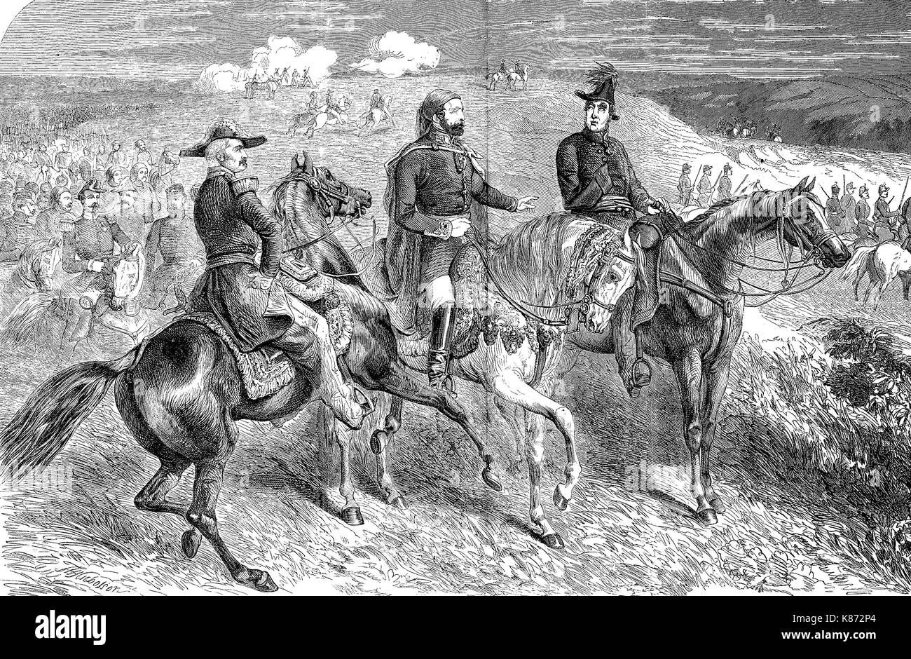 the generals Aimable-Jean-Jacques Pélissier, 1st Duc de Malakoff, Omar Pasha Latas and Lord Raglan, Crimean War, Siege of Sevastopol, 1855, Digital improved reproduction of an original woodprint from the 19th century - Stock Image
