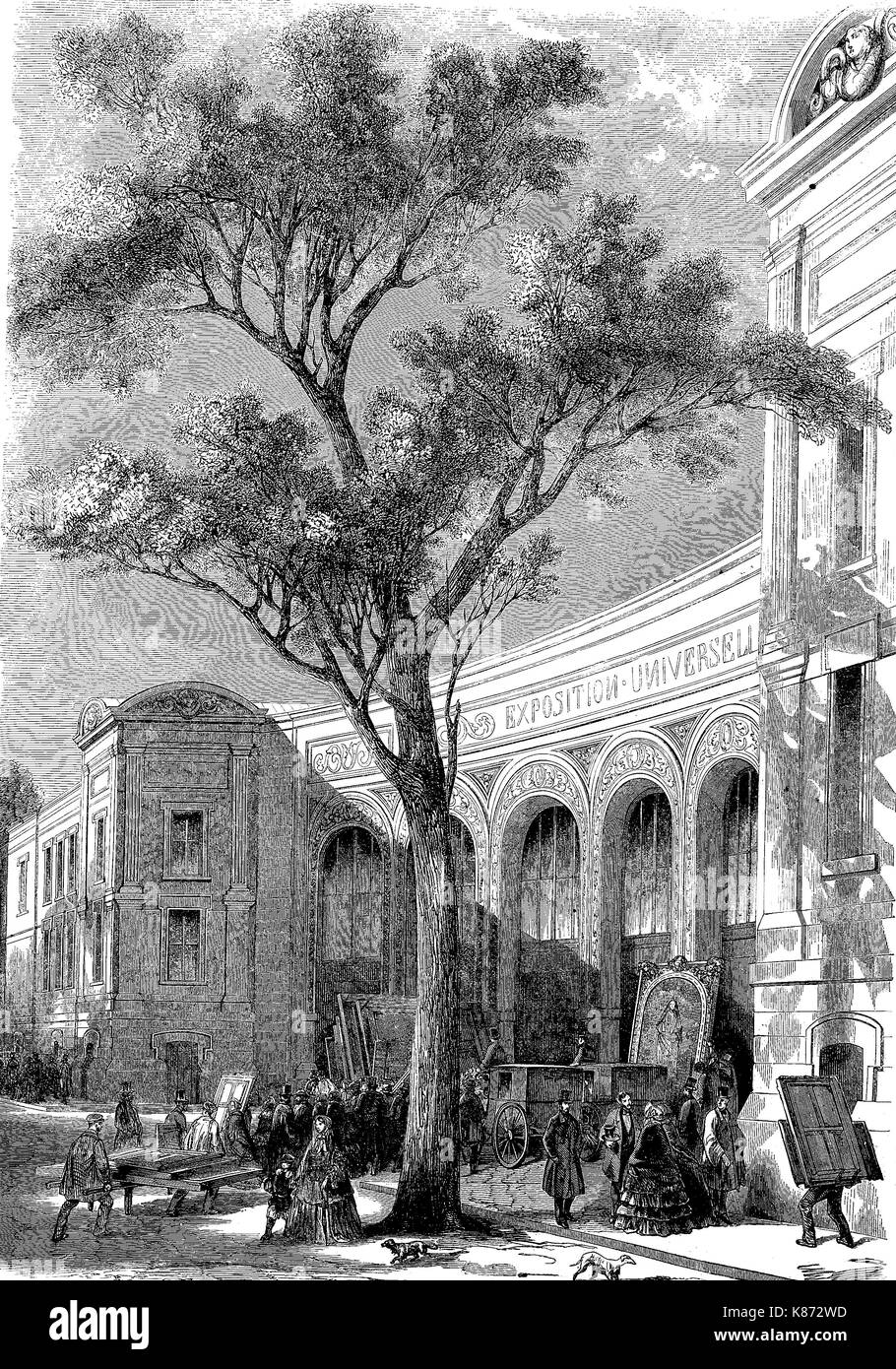 the art exhibition of Paris, France, ca 1855, here the facade of the gallery in Avenue Montaigne, Digital improved reproduction of an original woodprint from the 19th century - Stock Image