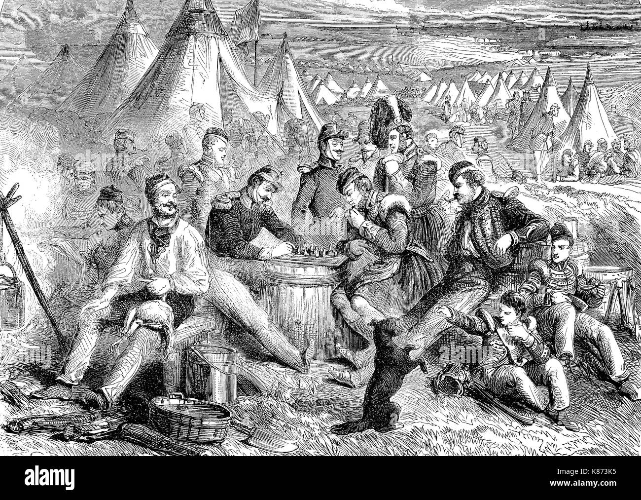Crimean War 1853 - 1856, pastime and entertainment in the English camp at the Crimea, Digital improved reproduction of an original woodprint from the 19th century - Stock Image