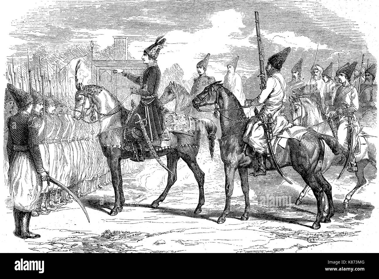 Crimean War, Naser al-Din Shah Qajar, 1831- 1896?, also Nassereddin Shah Qajar, was the King of Persia 1848 - 1896, Digital improved reproduction of an original woodprint from the 19th century - Stock Image