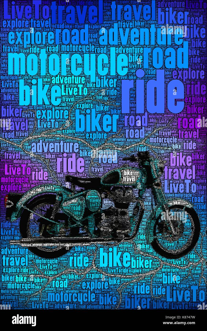 Concept art poster of a bike and words about the subject. - Stock Image
