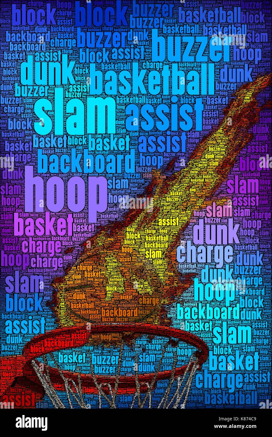 Basketball concept art poster with words about the subject. - Stock Image