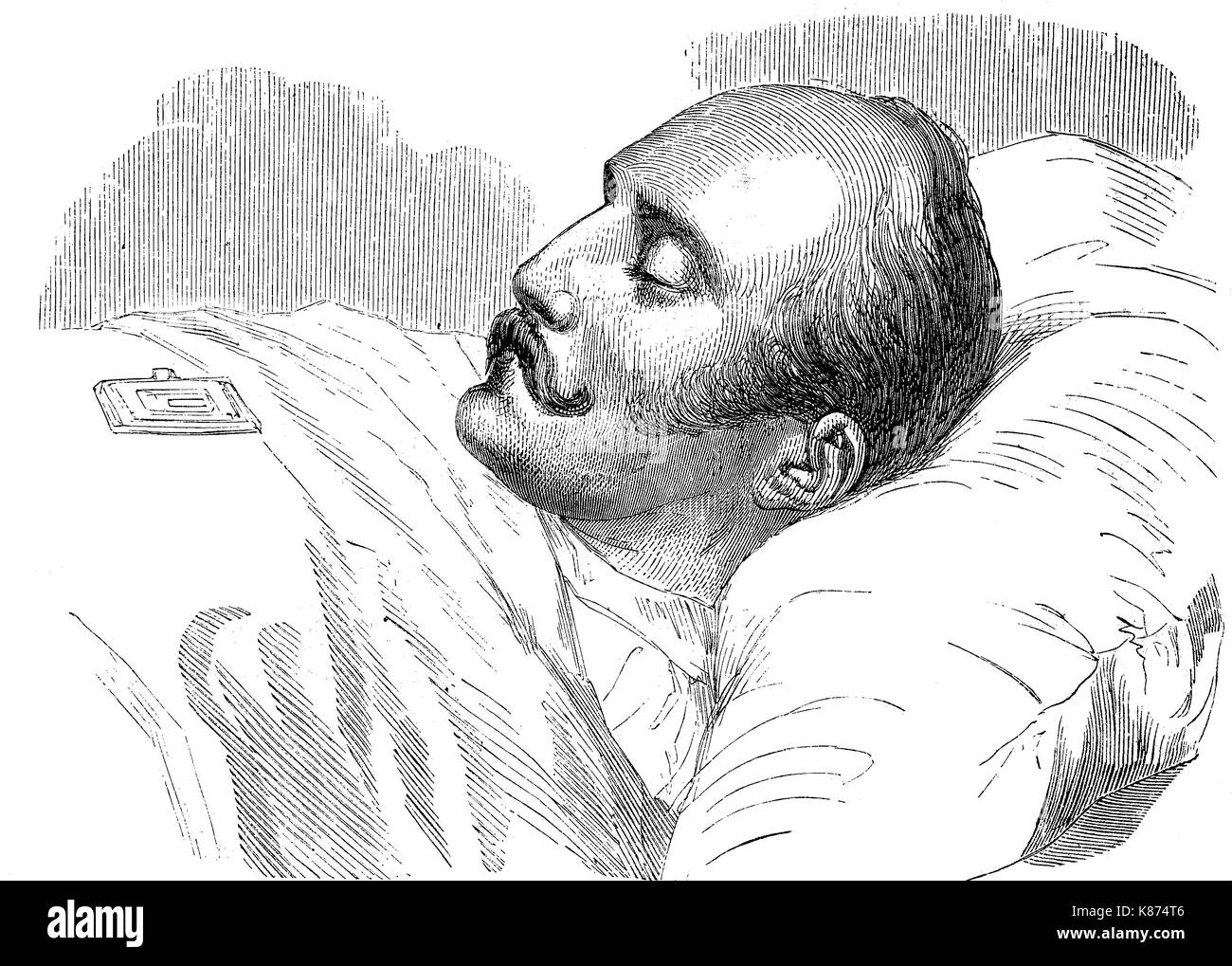 Nicholas I, 1796 - 1855, was the Emperor of Russia from 1825 until 1855, here on the deathbed, Digital improved reproduction of an original woodprint from the 19th century - Stock Image