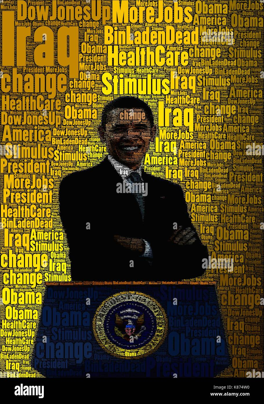 President Obama concept art, using only words to make it. - Stock Image