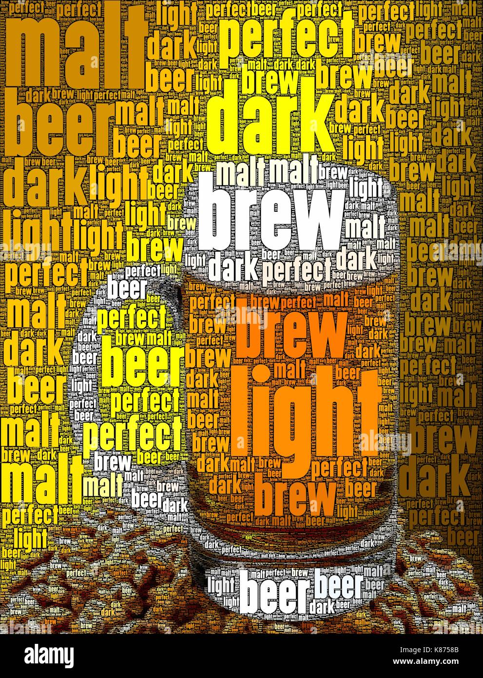 Beer concept art, made with words about the subject - Stock Image