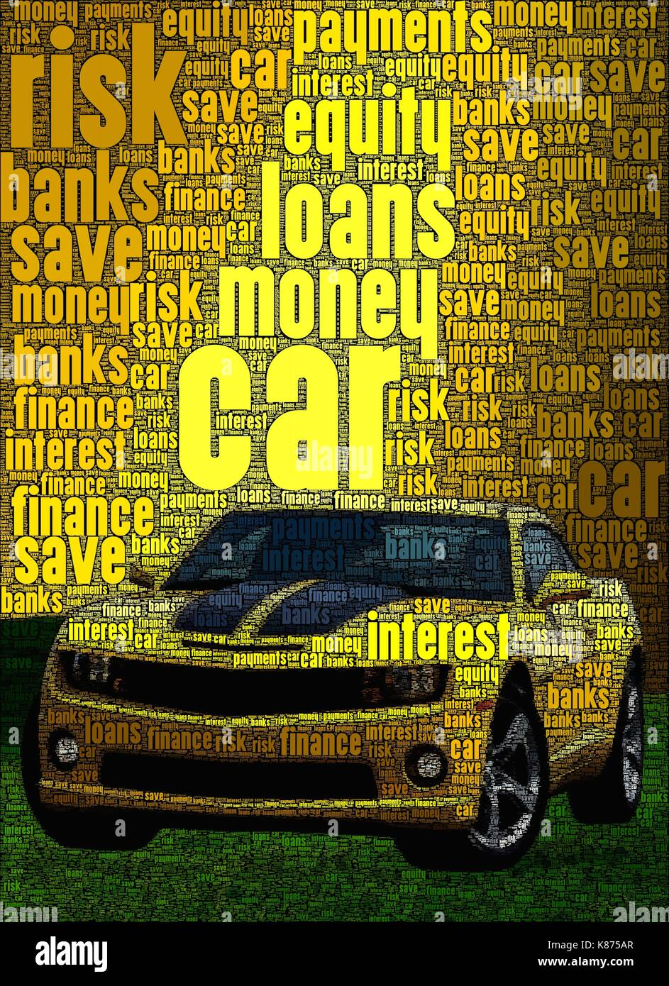 Car loan concept art, made with words about the subject - Stock Image