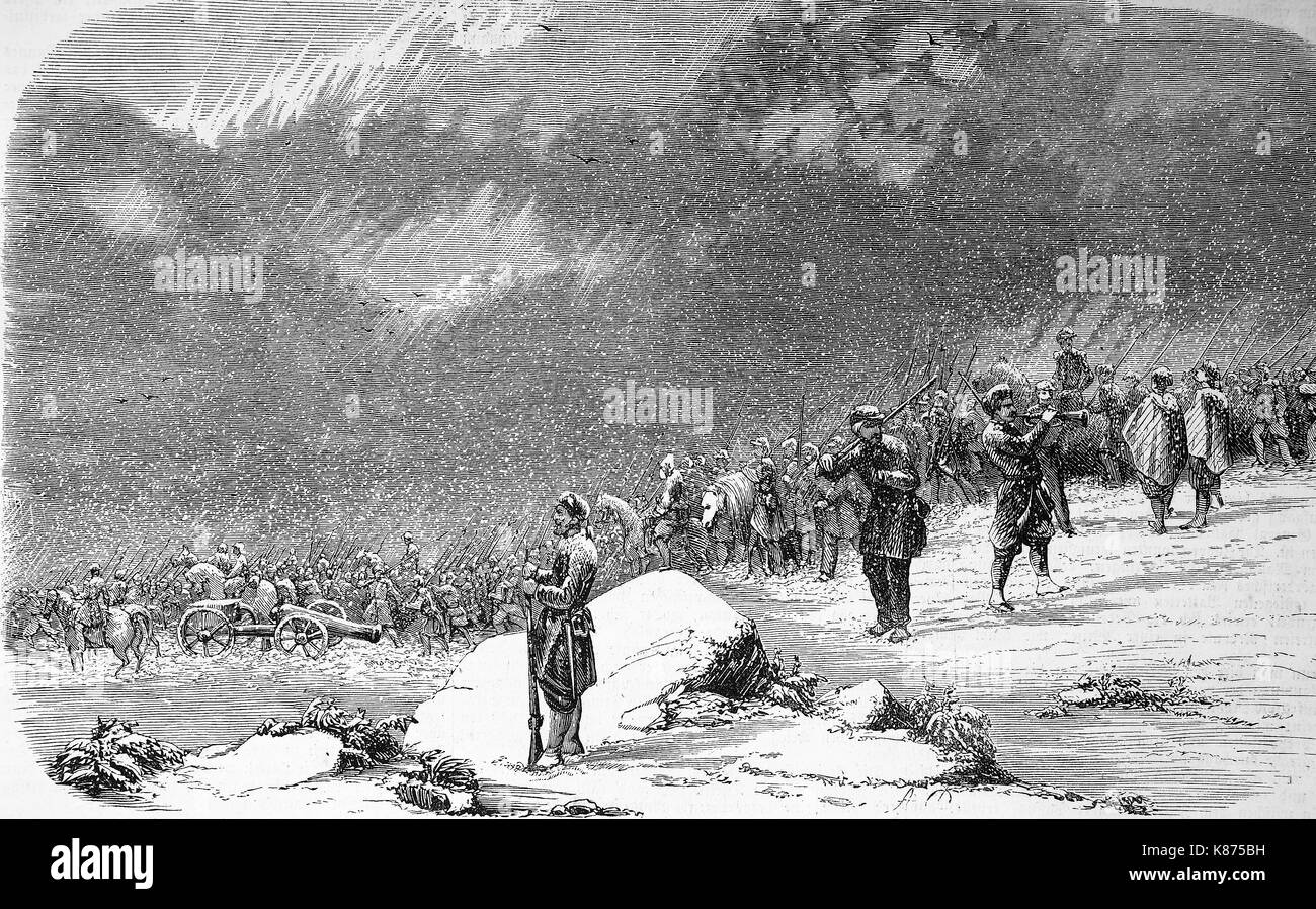 Crimean War 1855, English soldiers on their way back from a reconnaissance, exploring military reconnaissance near Balaklava, Digital improved reproduction of an original woodprint from the 19th century - Stock Image