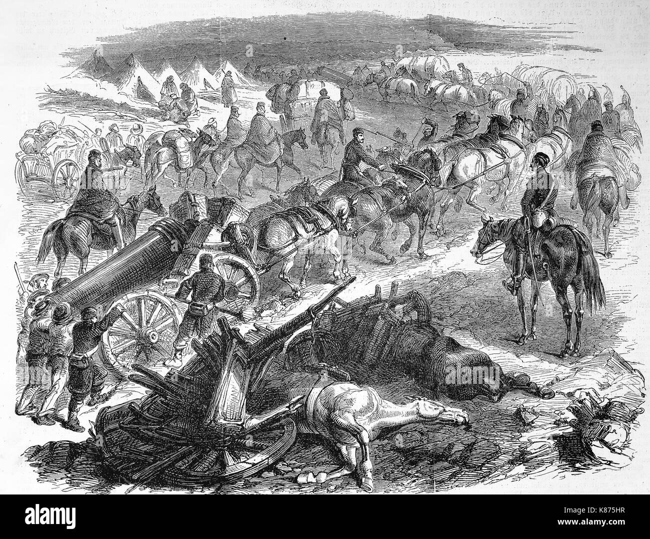 Crimean War, English convoy with luggage and artillery, comes from the port of Balaklava, 1855, Digital improved - Stock Image