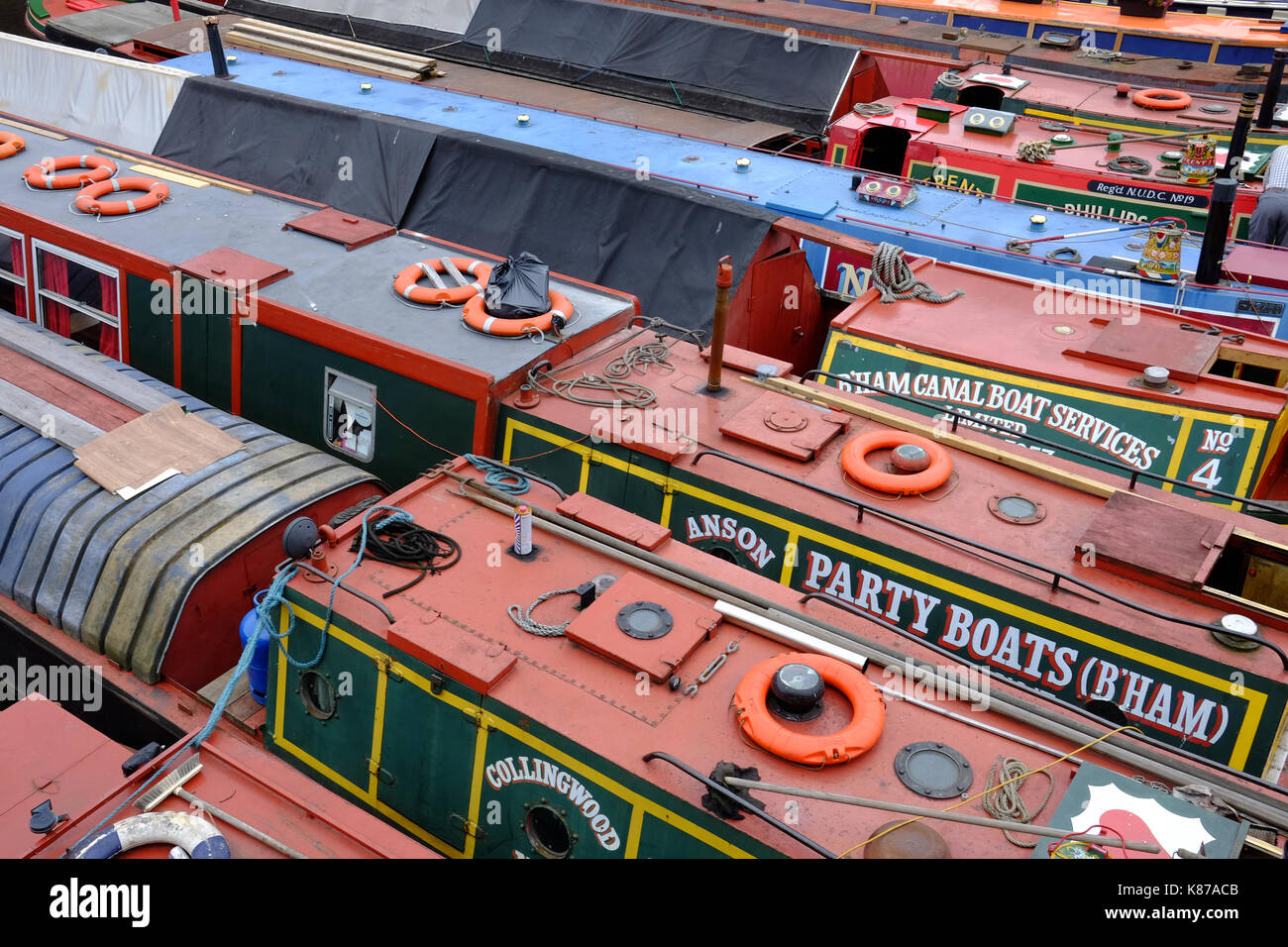 narrow boats in Gas Street Basin, on the historic canal network in Birmingham, England Stock Photo
