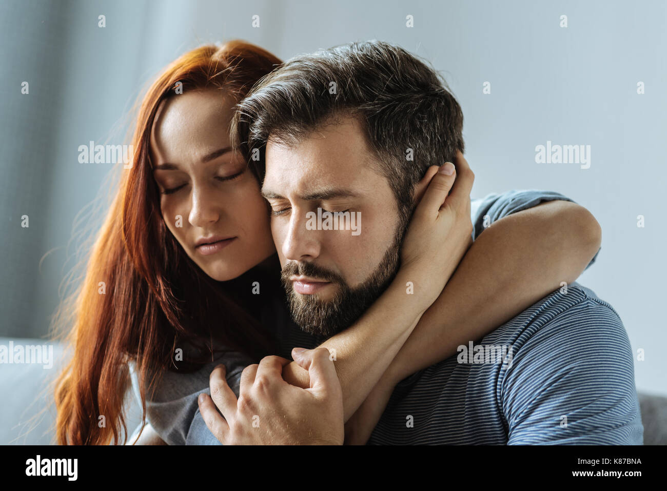 Pleasant Loving Couple Caring About Each Other Stock Photo Alamy
