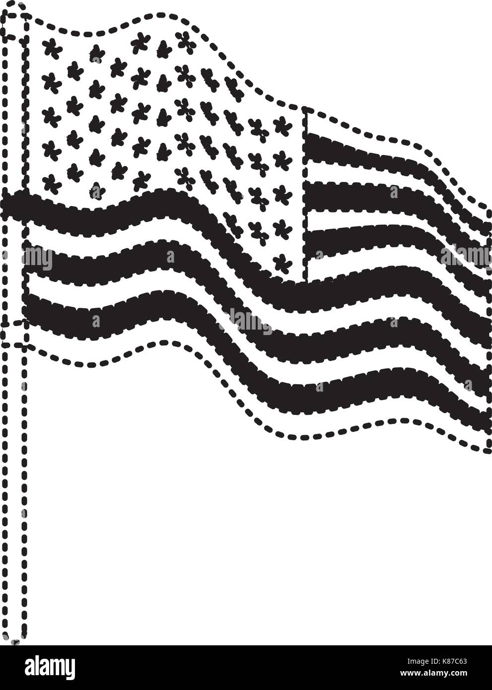 flag united states of america in flagpole waving side in dotted monochrome silhouette - Stock Image