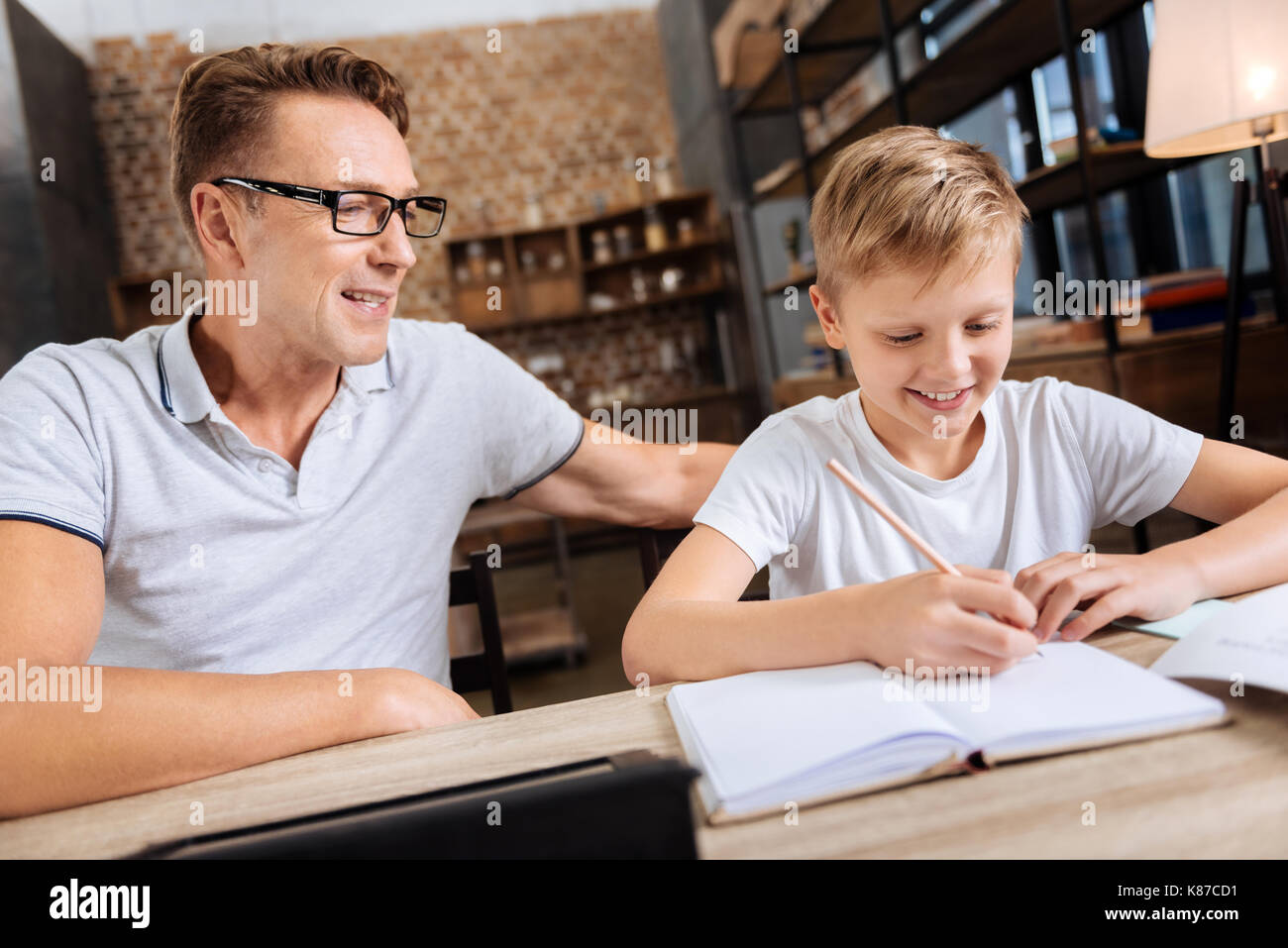Pre-teen boy doing homework with father in the study - Stock Image