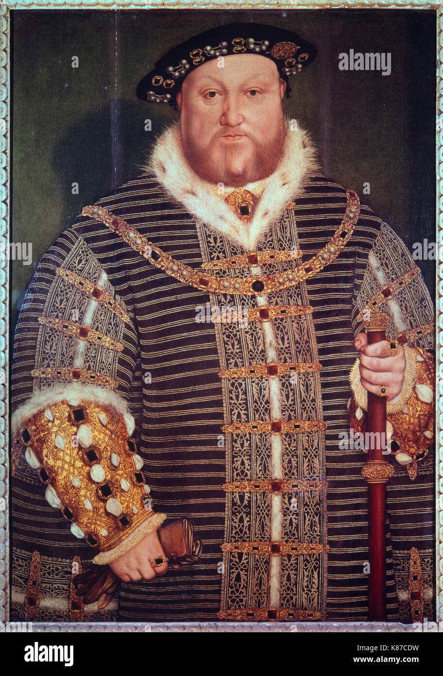 Henry VIII by Hans Holbein the younger - Stock Image