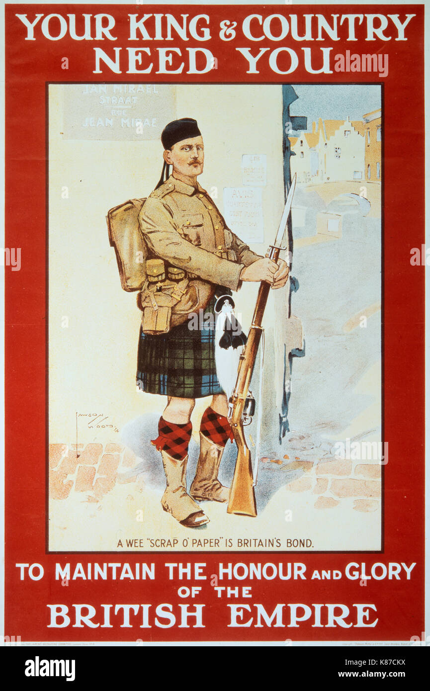 YOUR KING AND COUNTRY NEED YOU British WW1 Propaganda Poster