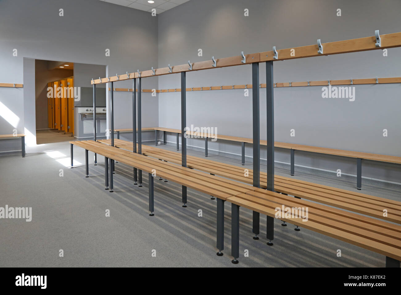 Sports hall changing room a new UK secondary school Shows Stock