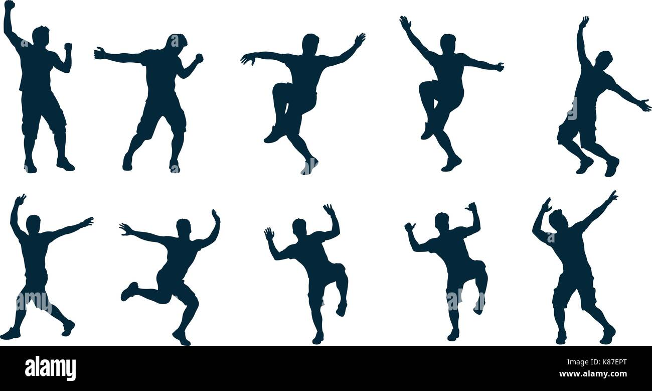 male silhouette dancer - Stock Vector