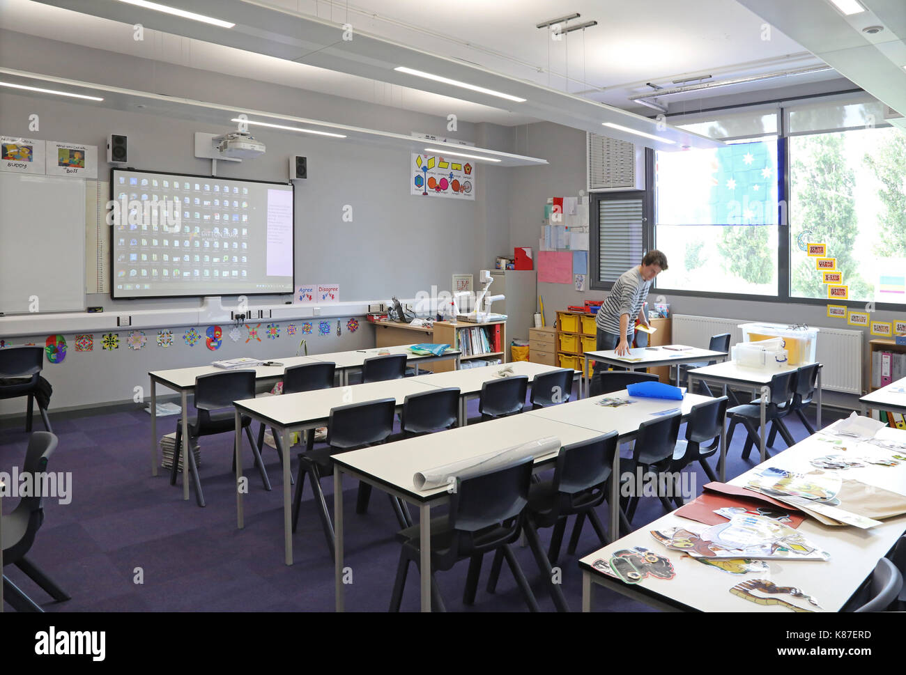 Traditional And Modern Classroom Management ~ Secondary school classroom stock photos