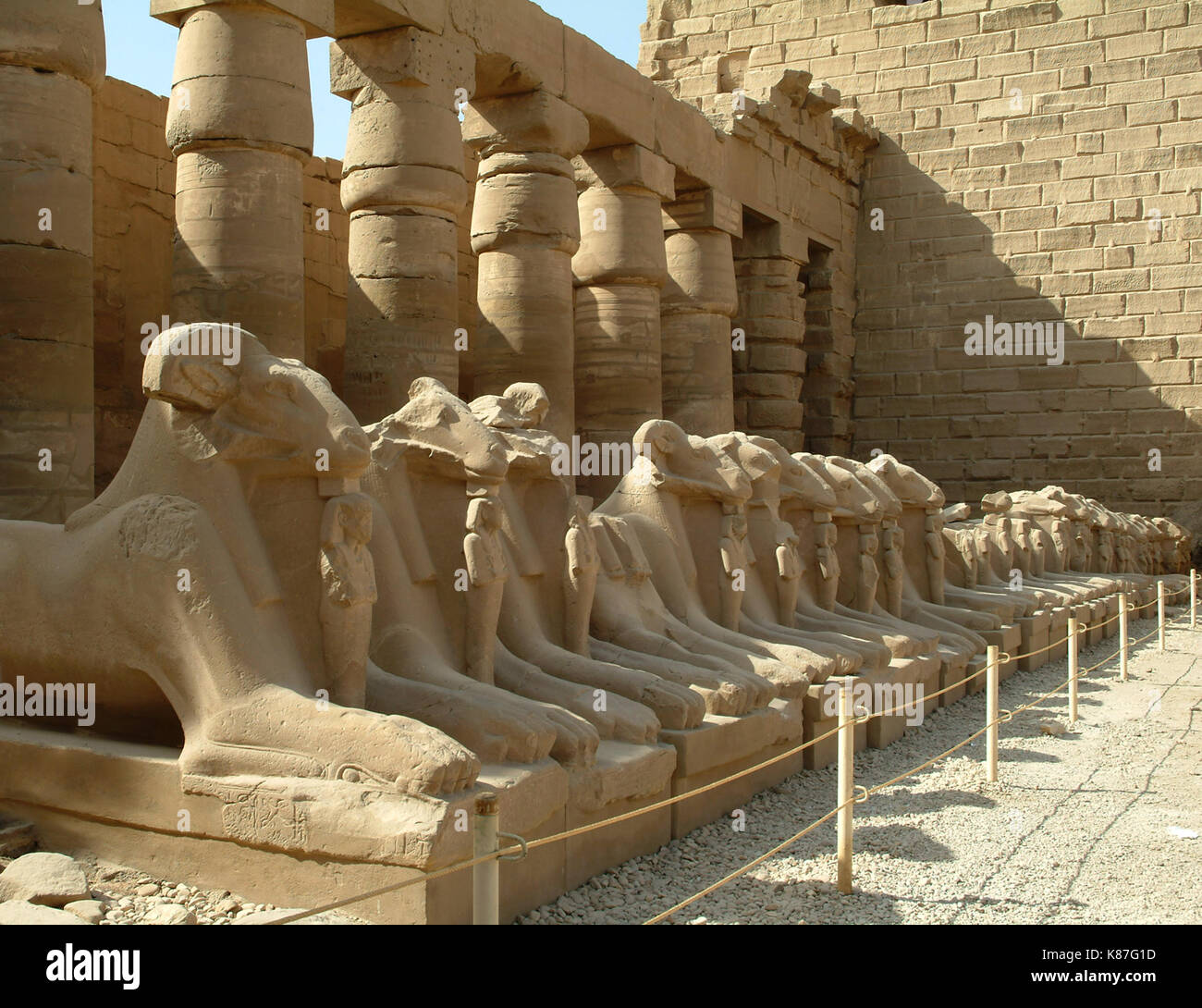 Alley of sphinxes with sheep heads, without people, Thebes, UNESCO World Heritage Site, Egypt, North Africa, Africa - Stock Image