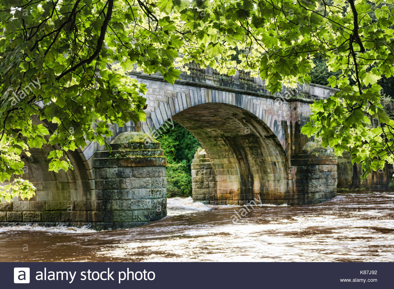 Central arch of the bridge over the River Lune at the Crook of Lune near Lancaster, UK - Stock Image