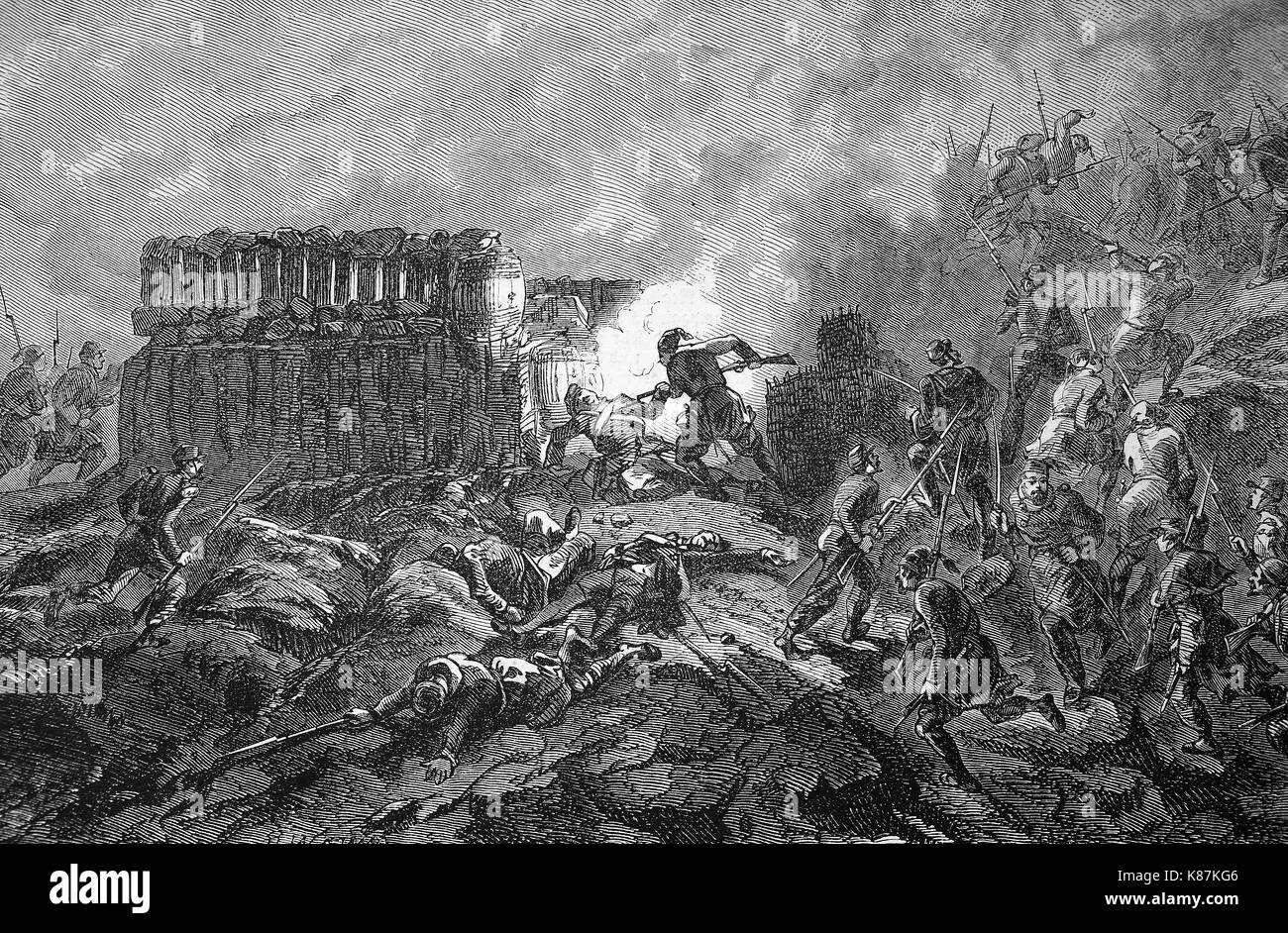 Crimean War 1855, Conquest of a Russian ambush at the Bastion, Digital improved reproduction of an original woodprint from the 19th century - Stock Image